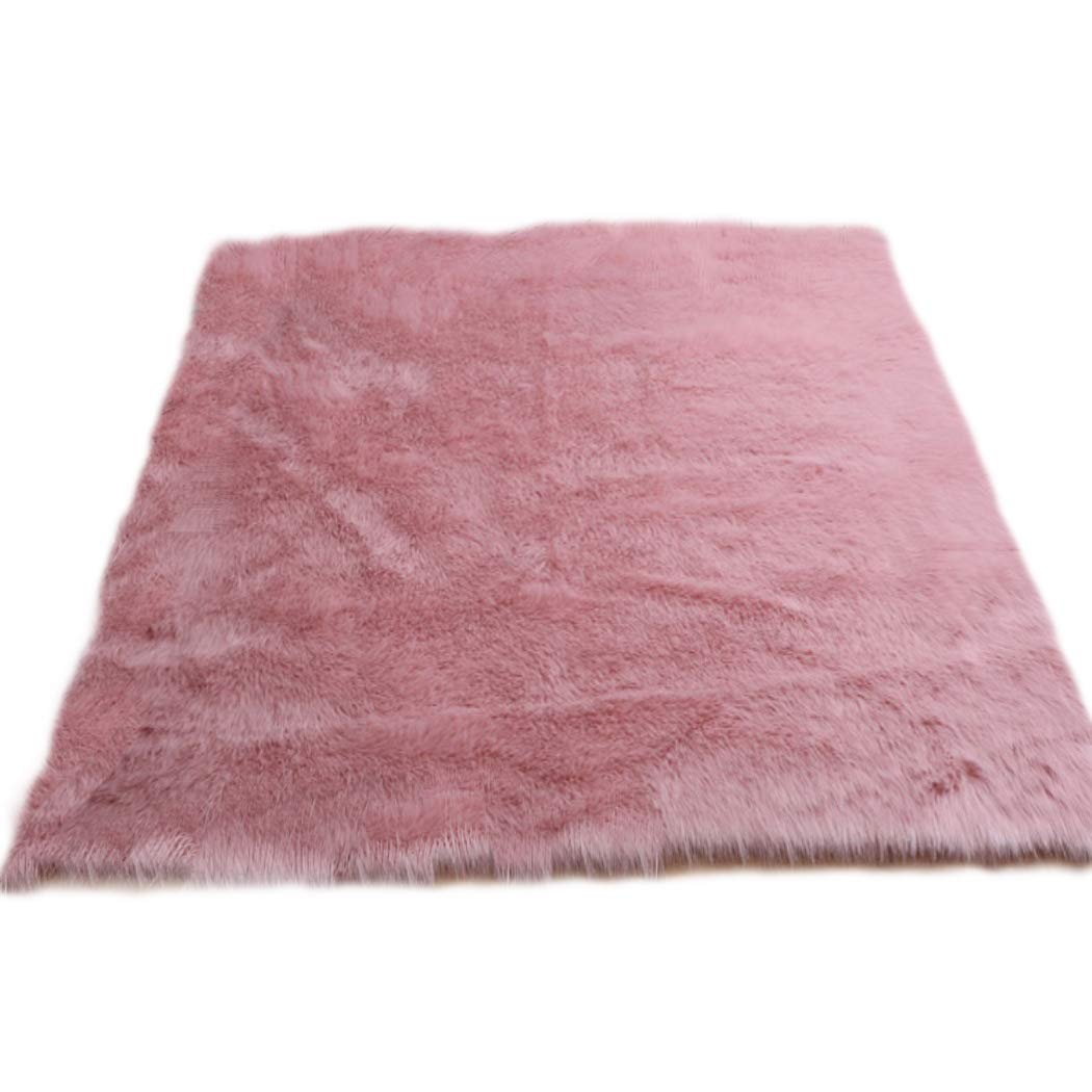 Elhouse Home Decor Square Rugs Faux Fur Sheepskin Area Rug Shaggy Carpet Fluffy Rug for Baby Bedroom, 4ft x 4ft, Baby Pink by Elhouse (Image #1)
