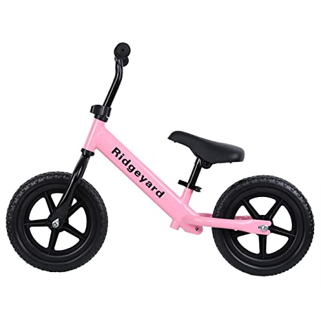 "6cdd92f62da Ridgeyard 12"" Pink Kids Balance Bike Adjustable Frame No Pedal Walking  Balancing Bicycle (Age"