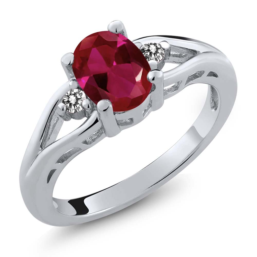 Gem Stone King 1.22 Ct Oval Red Created Ruby White Diamond 925 Sterling Silver 3 Stone Ring (Size 6)