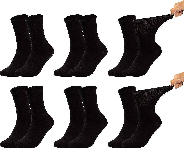 Vitasox 31124 Herren Gesundheitssocken extra weiter Bund ohne Gummi Venenfreundliche Socken mit breitem Schaft verhindern Einschneiden /& Dr/ücken 6 Paar Schwarz 43//46