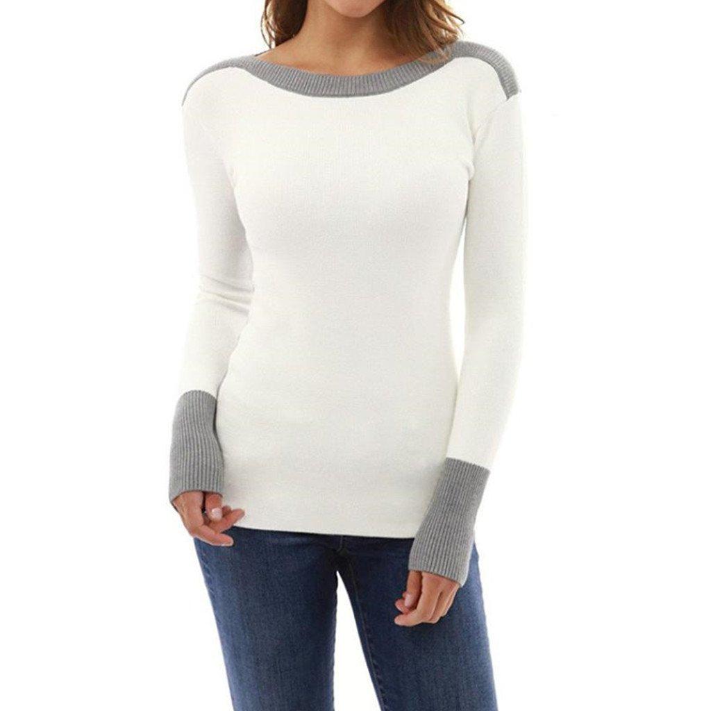 Damen O Hals Kampf Farbe Langarm Jumper Pullover Winter Casual Bluse Tops JiaMeng Damen Winter Pullover