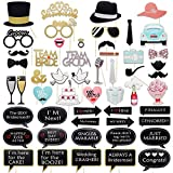 Meetory 52Pcs Wedding Photo Booth Props Kit, DIY Party Favor Photo Stick Props, Selfie Props Decorations for Bridal Shower, Wedding Supplies, Valentines Day