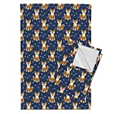 Roostery Fox Foxes Southwest Baby Nursery Navy Navy Nursery Tea Towels Southwest Fox Fabric, Navy by Charlottewinter Set of 2 Linen Cotton Tea Towels