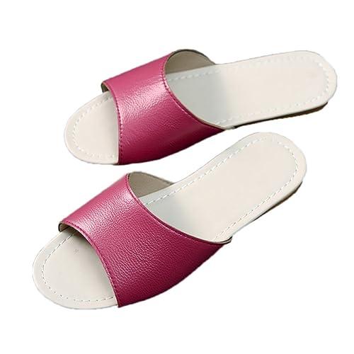TELLW Zapatillas de Cuero Verano Hombre y Mujer casa Parejas Zapatillas Piso Antideslizante Zapatillas: Amazon.es: Zapatos y complementos