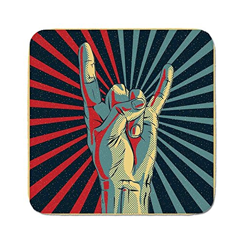 (Cozy Seat Protector Pads Cushion Area Rug,Music,Hand in Heavy Rocker Sign Musical Universal Gesturing Thunder Bolts Party People Decorative,Multicolor,Easy to Use on Any Surface)