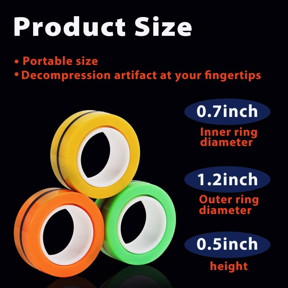 Magnetic Bracelet Ring Unzip Toy Magical Ring Props Tools Ninge Magnetic Rings Toy Finger Gyro Toy 6Pack