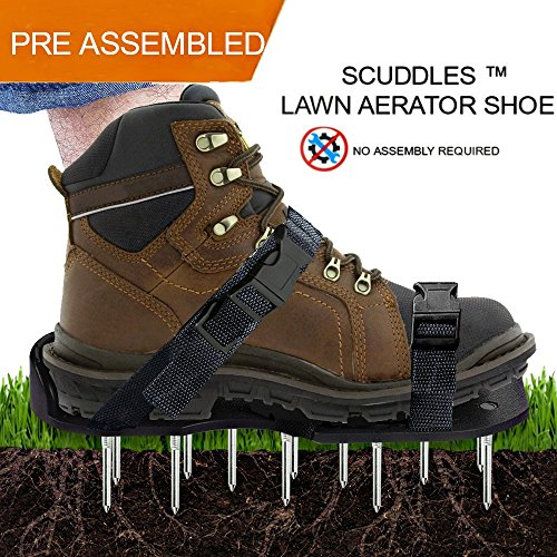 Lawn Aerator Shoes, Scuddles Heavy Duty Aerating Spiked Lawn Sandals With Adjustable straps - Sturdy Universal Size - Perfect Fit , Men Women NO ASSEMBLY NEEDED Use straight out of box