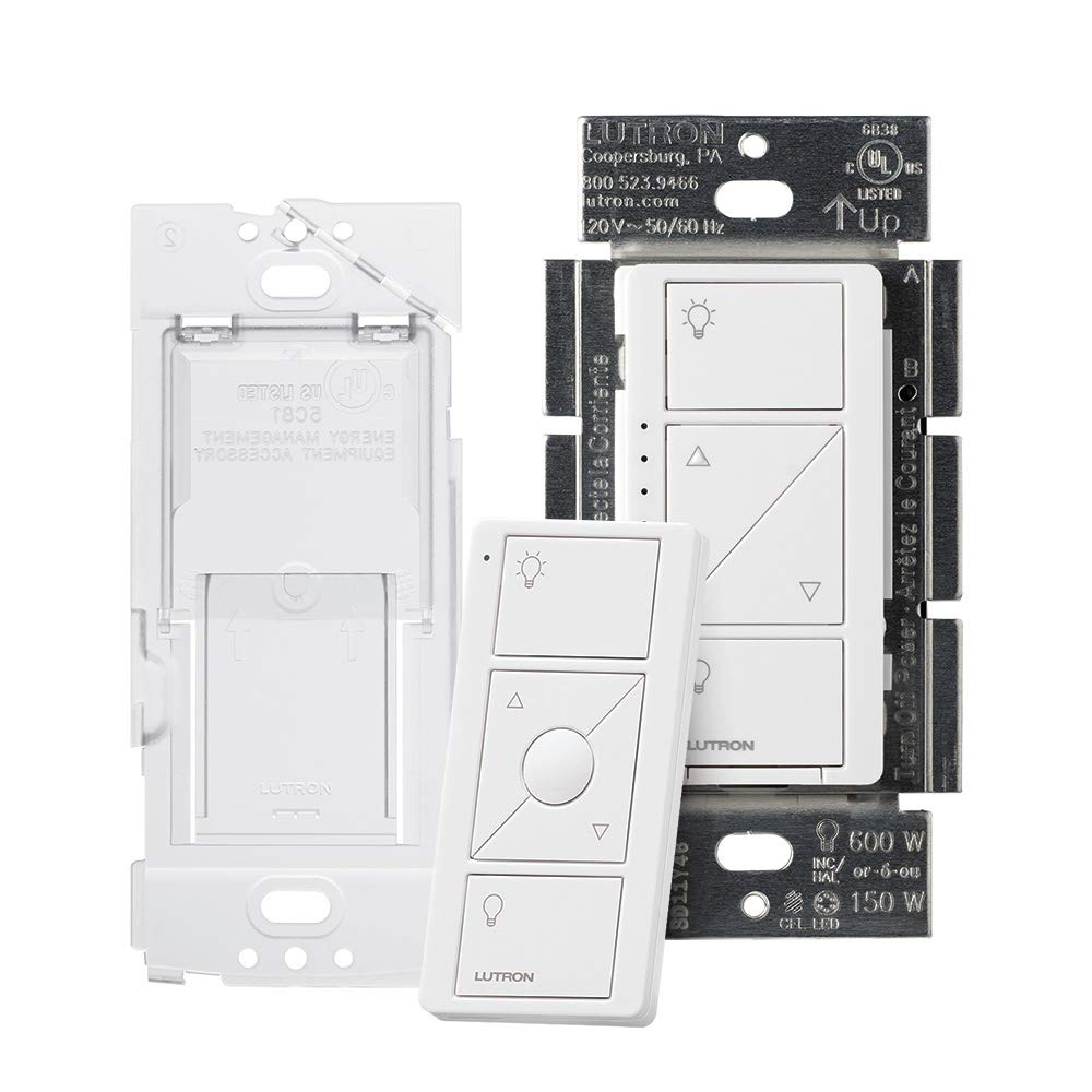 Lutron P-PKG1WB-WH Caseta Wireless Smart Dimmer Switch and Remote Kit White