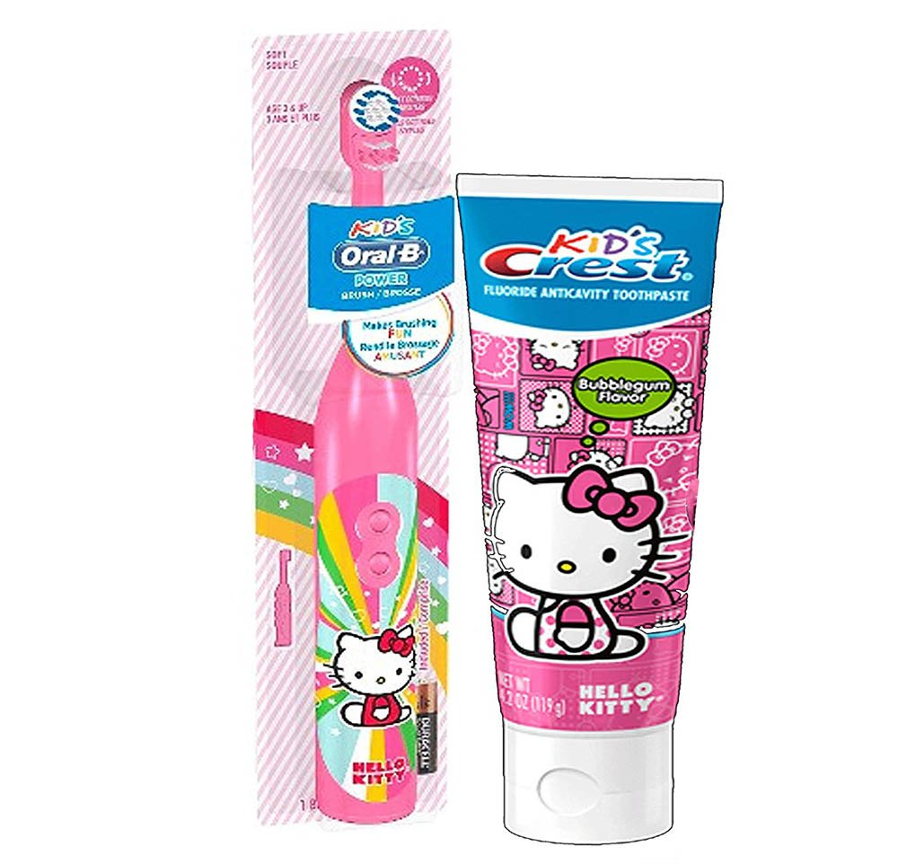 Hello Kitty - 2 Piece Oral Hygiene Set includes Hello Kitty Toothbrush and Toothpaste by MD USA