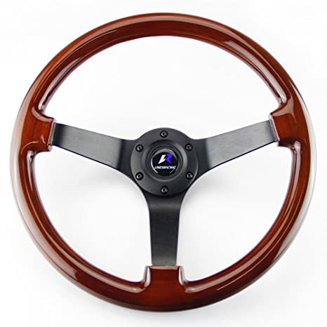 Universal Fits Car Racing Sport 300mm Deep Dish Steering Wheel with Horn Button
