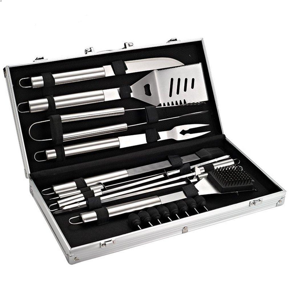 JasCherry 18-teilig Edelstahl Grillbesteck mit Aluminium Aufbewahrungskoffer, Erschwinglich Barbecue Grill Werkzeug Set Kit, Silber, Speicher-Box-Größe 60 x 30 x 10cm, Gewicht 2.4 kg