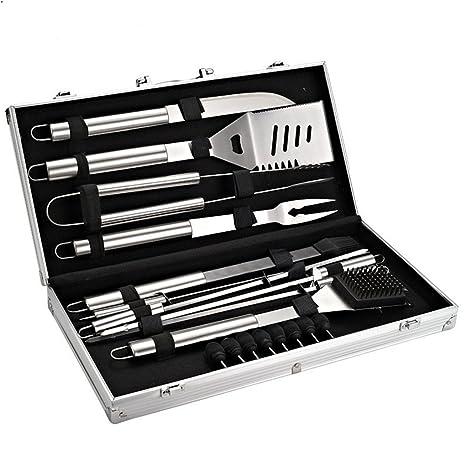 Holzsammlung® Cubertería de 18 piezas para barbacoa de acero inoxidable para barbacoa Cubiertos en maletín