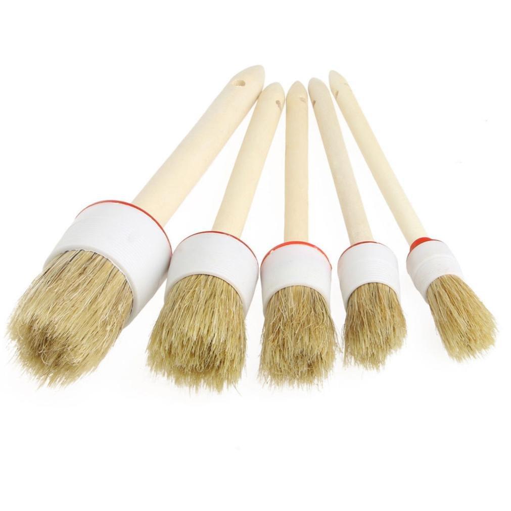 Rawdah Brosses de nettoyage de voiture douce pour le nettoyage Dash Trim Siè ges Roues Poigné e en bois (5PCS) LZC70406581