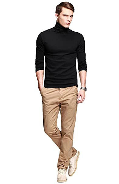 7c876beda1a fanideaz Men s Cotton Full Sleeve Classic High Neck Black T Shirt ...