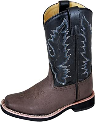 Smoky Mountain Boys Brown/Black Tyler Square Toe Western Cowboy Boots,2.5 M US Little Kid