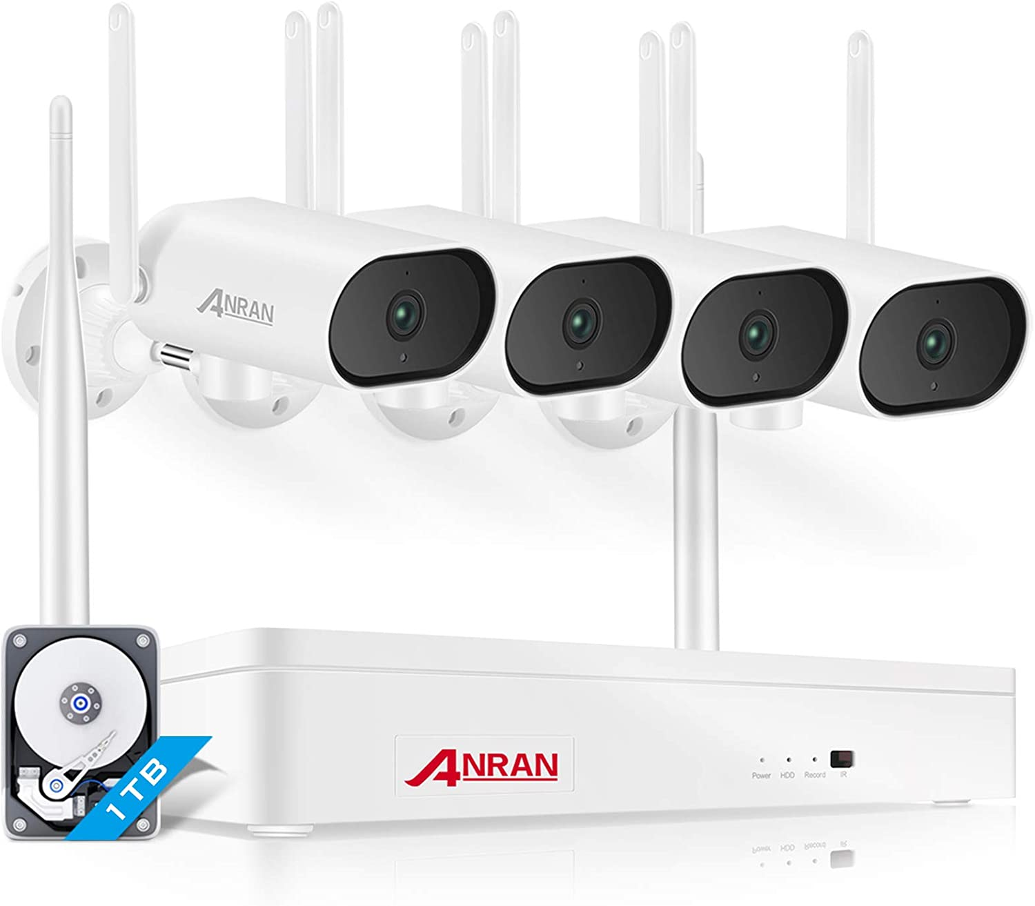 ANRAN 3MP Wireless Security Camera System with 1TB Hard Drive, 8CH Expandable NVR 4Pcs 180° Pan Outdoor WiFi Surveillance Camera with One-Way Audio, Night Vision, Motion Alert, Plug&Play, 7/24 Record