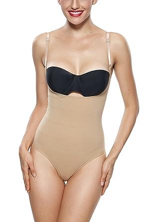 7b1feb2070 Franato Womens Firm Control underbust Tummy Control Thong Bodysuit ...