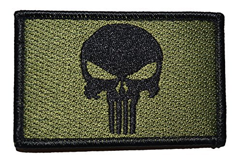 [Punisher Tactical Patch, OD Green] (Womens Army Costumes Australia)