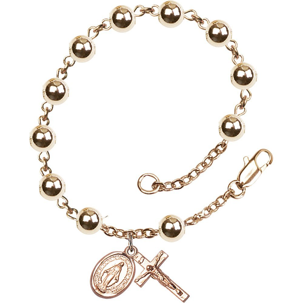 14kt Yellow Gold Filled Rosary Bracelet 6mm Gold Filled Round beads, Crucifix sz 5/8 x 1/4. by Bonyak Jewelry (Image #1)
