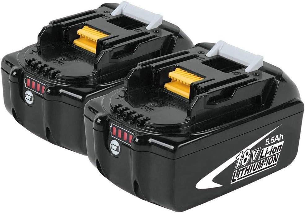 Boetpcr 2x BL1860B 18V 5.5 Ah batería de repuesto de litio Reemplazo para Makita BL1860 BL1850 BL1840 BL1830 BL1820 BL1815 BL1825 BL1835 BL1845 con indicador