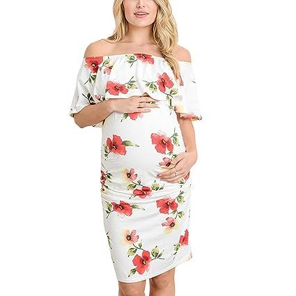 50a48fef9eda5 Amazon.com : Women Maternity Ruffle Bodycon Dress - Pregnant Off ...
