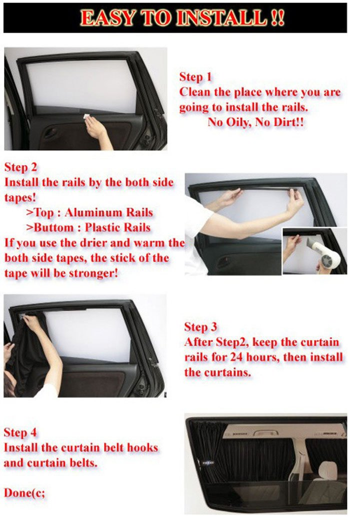 70S, Black Bininbox 2x 70//50cm Auto Rear Valance UV Sunshade Drape Visor Car Side Window Curtain