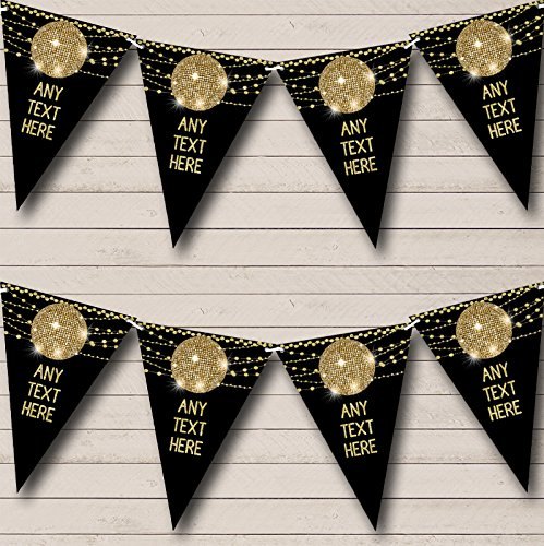 60's 70's 80's Disco Gold Ball Personalized Birthday Party Bunting Flags Banner