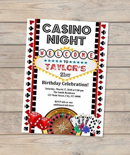Amazon Casino Night Birthday Invitation Vegas Theme