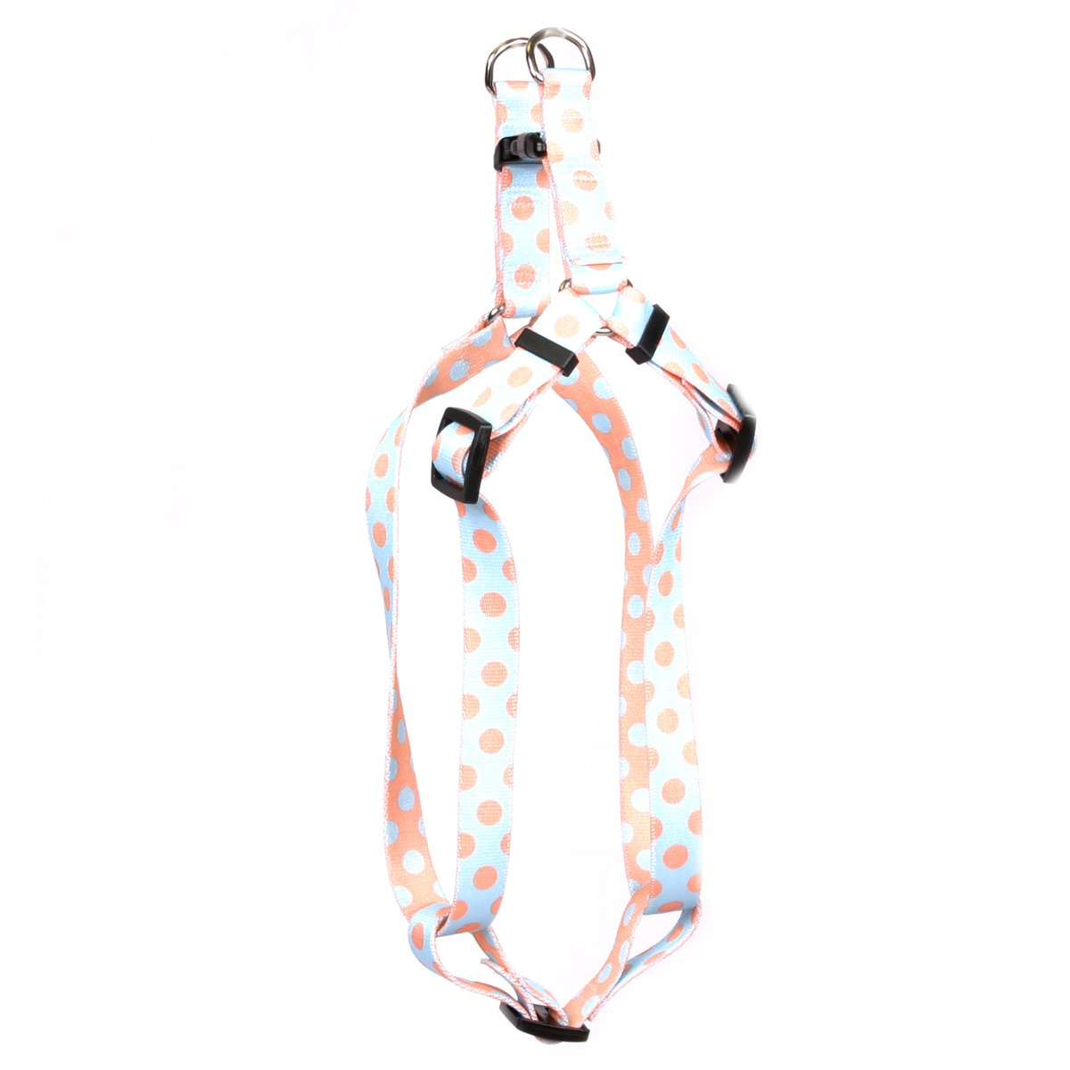 Yellow Dog Design Blue and Melon Polka Dot Step-in Dog Harness, Medium