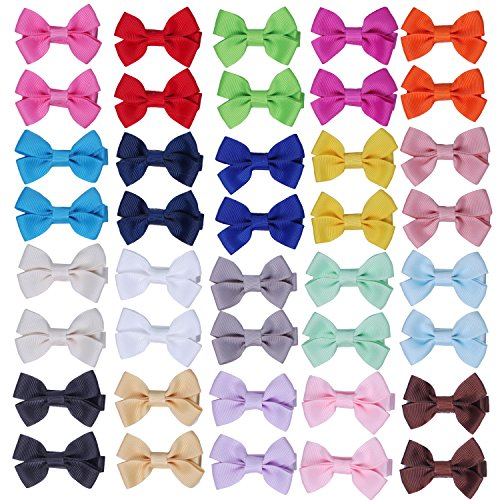 Puppy Volleyball Girl (ICObuty 20 pair 2 inch Hair Bows for Girls Baby Toddlers Hair Clips Hair Bow Barrette)