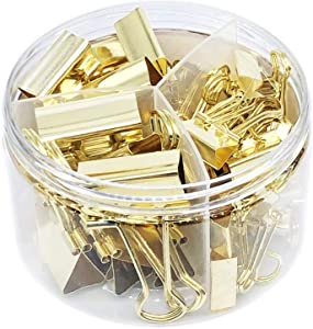 Gold Binder Clips Paper Clamps Assorted 3 Sizes Set (Width1-1/4 inch, 1 inch, 3/4 inch,Capacity 1/4 inch, 3/8 inch, and 1/2 inch), 42 Pack,Good for Office School Supplies(Gold)
