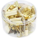 Gold Binder Clips Paper Clamps, Assorted Sizes Set (Small, Medium, Large) for Office School and Home Supplies