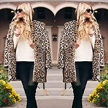 Extaum Winter Women Faux Fur Longline Coat Leopard Print Notched Collar Long Sleeve Jacket Parka Outerwear