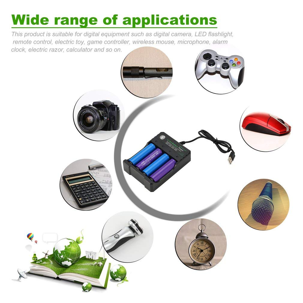 Battery Charger 4pcs 18650 Battery button//niple top 2500Mah 3.7V Lithium Rechargeable Batteries for Led Flashlight Torch Headlamp more