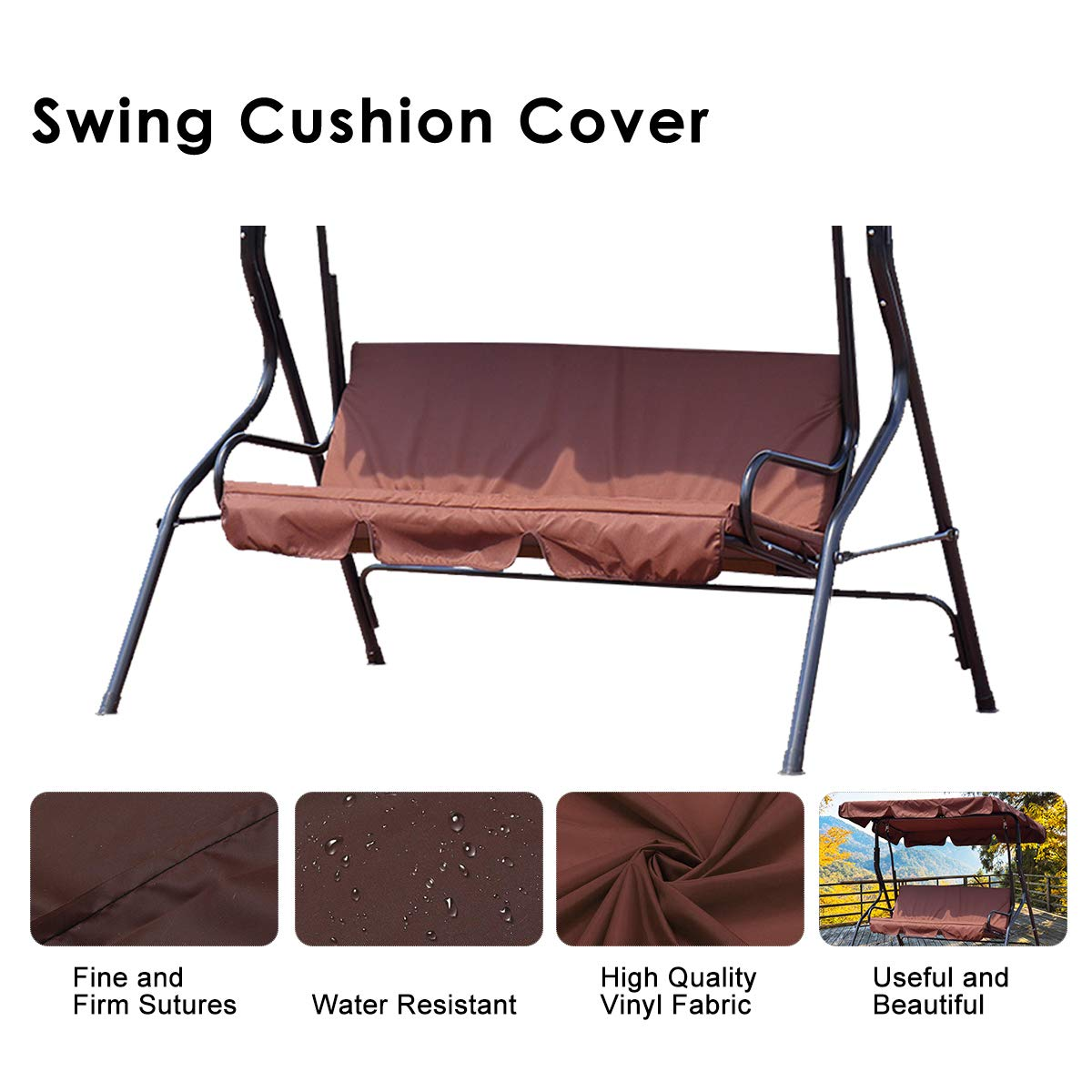 Essort Swing Seat Cover, Waterproof Outdoor Garden Swing Seat Cushion Replacement Spare Cover Bench Pad Cover Sets For 3 Seater Garden Hammock Brown