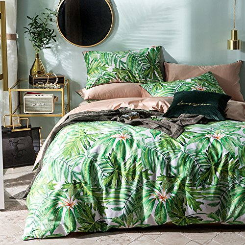 TheFit Paisley Textile Bedding for Teenagers W807 Green Nature Oil Paint Duvet Cover Set 100% Egyptian Cotton, Queen Set, 4 Pieces ()