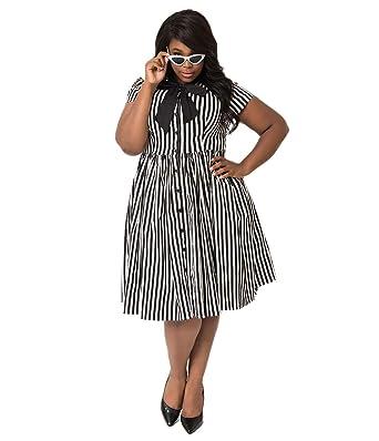 Unique Vintage Plus Size 1950s Style Black White Striped Button Up