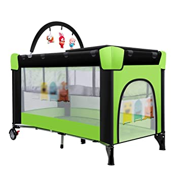 70c8a9a3a92 Multifunctional Portable Crib Double Layer Baby Toddler Game Fence Bed Baby  Playpen Foldable Children s Travel Bed