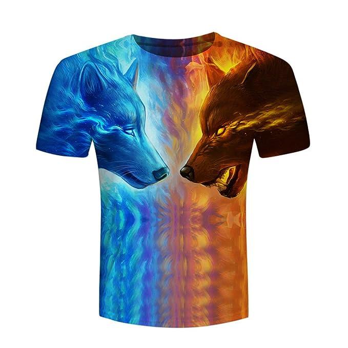 Lobo de Fuego y Hielo por Camisetas Impresas Camisetas de Hombre 3D Divertido Manga Corta de Verano Tops Camiseta Masculina: Amazon.es: Ropa y accesorios