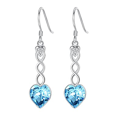 Clearine Women's 925 Sterling Silver Wedding Bridal Hoop Baroque Hook Earrings Adorned with Swarovski Crystals Aquamarine Color vH2XbJgZd