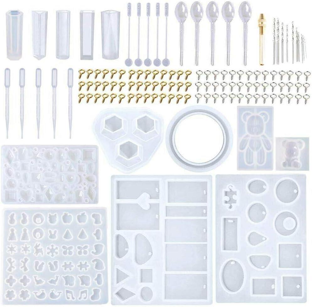 Zooarts Handmade Crystal Glue Mould Mold Set Resin Jewelry Mold Kit 277 Pcs