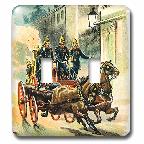 3dRose Scenes from the Past Vintage Storybook Pictures - ABCs of Horses 1880 Old Fire Crew Horse Drawn Vintage Storybook - Light Switch Covers - double toggle switch (lsp_270031_2)