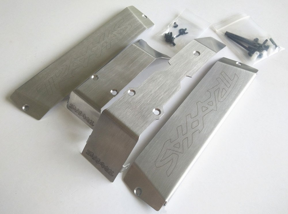 CrazyRacer Stainless Steel Chassis Armor Protection Skid Plate for 1/10 Traxxasss E-Revo 2.0