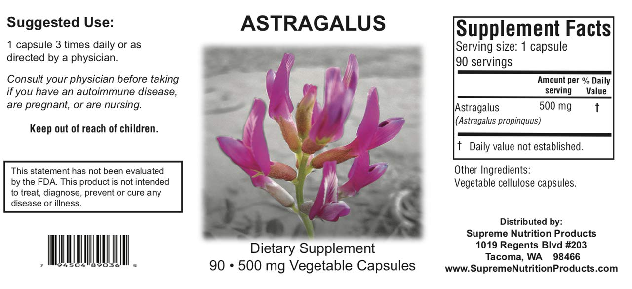 Supreme Nutrition Astragalus Supreme, 90 Huang Qi Caps