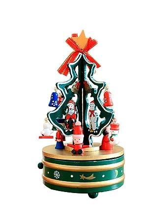Regali Di Natale In Legno.Decorazioni Natalizie Albero Di Natale Scatola Di Musica Rotante In Legno Decorazione Desktop Regali Di Natale Verde