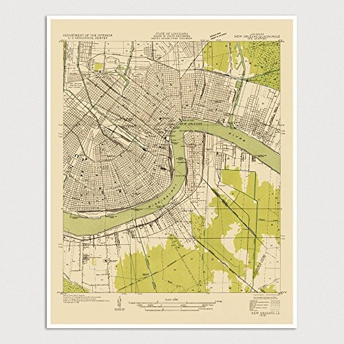 Old New Orleans Map Art Print 1932 - USGS Topographic Map - Archival Reproduction