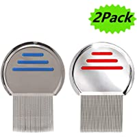 Lice Comb 2 Pack Professional Stainless Steel Nit Comb for Head Lice Treatment,Reusable,Removes Louse Nits Eggs Easily