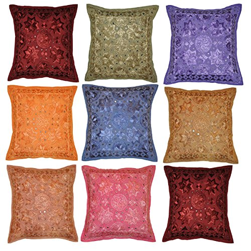 Amazon Com Indian Embroidered Cushion Covers Wholesale Lots Of 50