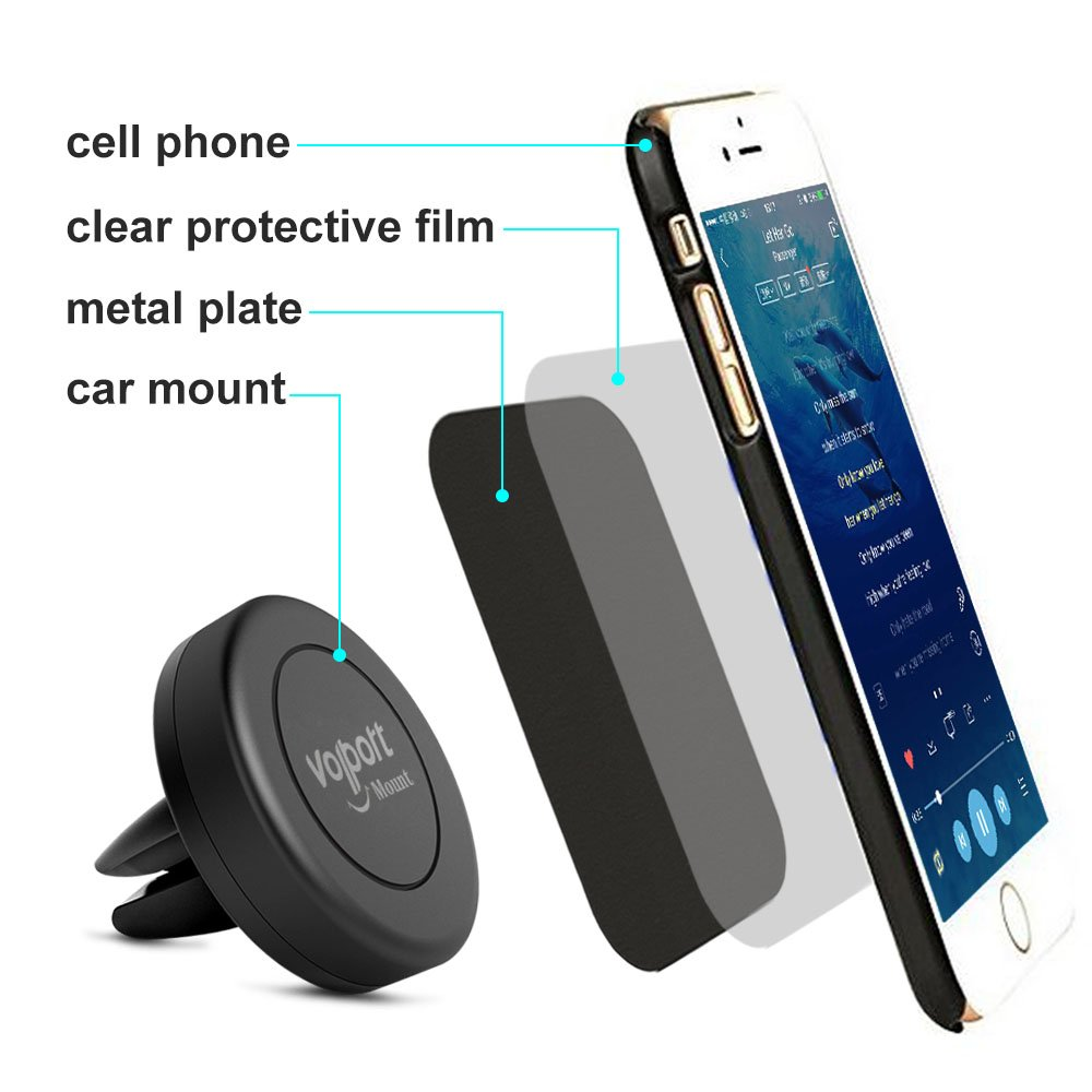 Amazon com car mount volport 2 pack universal magnetic air vent mount car cradle cell phone holder for apple iphone ipod samsung galaxy lg htc motorola