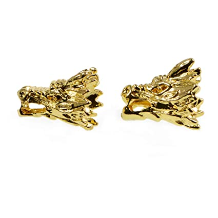 10pcs Solid Metal Lion, Sparta, Dragon, Wolf Bracelet Necklace Connector  Charm Beads Silver Gold (12x15mm Dragon Head, Gold)